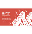 group white raised up fists arms protesting vector image vector image