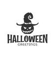 halloween pumpkin in a witch hat on white vector image vector image