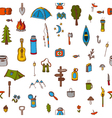 Hand drawn camping and hiking seamless pattern vector image vector image