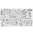 hand drawn meal doodles set vector image vector image