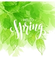 hand lettered style spring design on watercolor vector image vector image