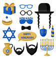 happy hanukkah photo booth stickers accessories vector image vector image