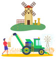 harvesting season windmill and harvester wheat vector image
