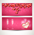 horizontal Flyers with glasses and a heart with a vector image vector image