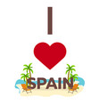 i love spain travel palm summer lounge chair vector image vector image