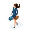isometric a beautiful woman on a business trip vector image vector image