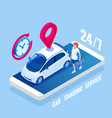 isometric car rental concept selling leasing or vector image vector image