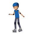 kid wearing helmet and roller skate funny vector image