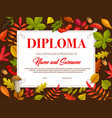 kids certificate with autumn leaves and mushrooms vector image vector image