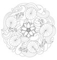 lotus and fishes coloring page vector image vector image