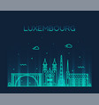 luxembourg skyline linear style city trendy vector image