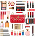 makeup cosmetics with red handbag vector image vector image