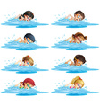 Many children swimming in the pool vector image vector image