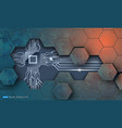 microchip and grunge hexagons texture vector image vector image