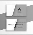 minimal style white and gray business card design vector image vector image