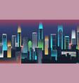 night city skyline with neon lights modern city vector image vector image