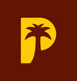 p for palm logo vector image