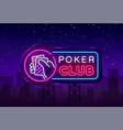 poker neon sign design template casino vector image vector image