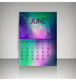 Polygonal 2016 calendar design for JUNE vector image vector image