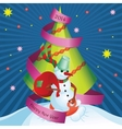 Postcard Snowman and gifts vector image