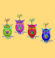 postcard with bright colorful owls vector image vector image