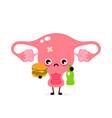 sad suffering sick cute uterus character vector image vector image