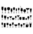 set black wine alcohol glasses silhouettes vector image