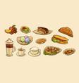 set food for cafe menu vector image