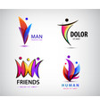 set human people group logos family vector image vector image