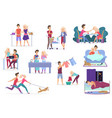 set loving couple activities cooking vector image vector image