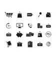 set of black shopping online icons vector image