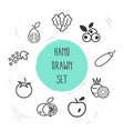 set of fruit icons line style symbols with tomato vector image