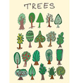 Set of hand-drawn doodle forest tree vector image vector image