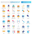 set trendy flat gradient wedding icons vector image vector image