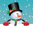 snowman holding blank paper vector image vector image