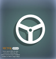Steering wheel icon sign On the blue-green vector image