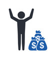 stickman with a bag of money dollar currency vector image