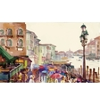 Street of Old autumn city made in watercolor style vector image vector image