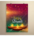 stylish diwali festival flyer template with three vector image