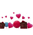 sweet banner with lollypops and cake vector image vector image
