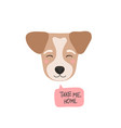 take me home flat style dog head cute cartoon vector image