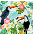 Tropical Flowers and Birds Background Toucan Bird vector image vector image