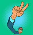 victory hand gesture positive businessman vector image vector image