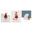vintage style cute scandinavian winter kids vector image vector image