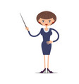 women school teacher with a pointer in vector image vector image