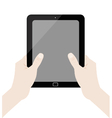 Hand-holding-tablet-inkscape-white-background vector image