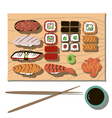 Flat sushi set with transparent background vector image