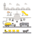 Airport ground support machineries flat design vector image