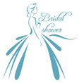 a silhouette of a bride in a vector image vector image