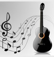 Abstract music background with guitar and notes vector image vector image